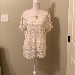 Ultra Pink Cream Blouse Size Large
